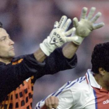 Bruno Valencony, lors de la finale de la Coupe de France PSG-Bastia, en 1995 (face à Rai).